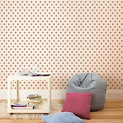 Graham & Brown Kids - Pink Polka Flock Wallpaper