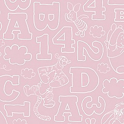 Kids at Home - Pink Pooh 123 Vintage Wallpaper