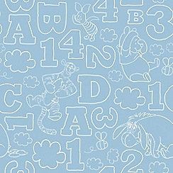 Graham & Brown Kids - Blue Pooh 123 Vintage Wallpaper