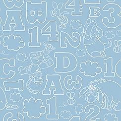 Graham & Brown Kids - Blue Pooh 123 Vintage Wallpaper