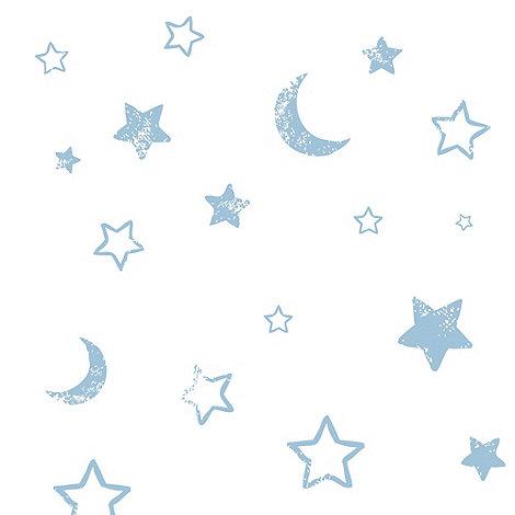 Disney - Blue Pooh Goodnight Vintage Wallpaper