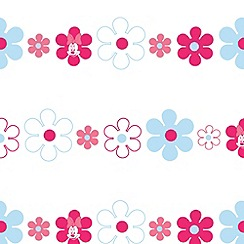 Kids at Home - Pink Minnie Bows & Daisies Wallpaper