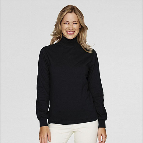 Lands+ End - Black long sleeve interlock mock