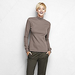 Lands' End - Beige long sleeve interlock mock