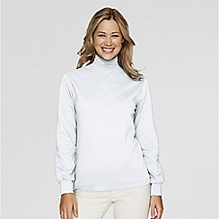 Lands' End - White long sleeve interlock mock
