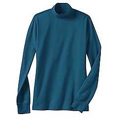 Lands' End - Blue women's long sleeve relaxed mock neck