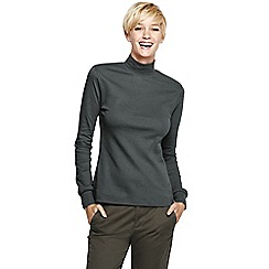 Lands' End - Grey women's long sleeve relaxed polo neck