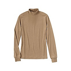 Lands' End - Beige women's long sleeve relaxed mock neck