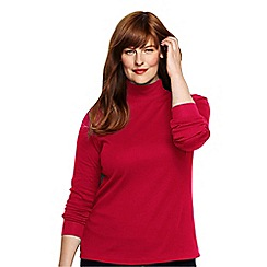 Lands' End - Red women's plus long sleeve interlock mock