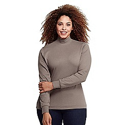 Lands' End - Beige women's plus long sleeve interlock mock
