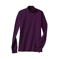 Lands' End - Purple women's plus long sleeve interlock mock