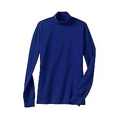 Lands' End - Blue women's plus long sleeve interlock mock