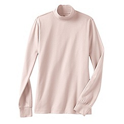 Lands' End - Pink women's petite long sleeve relaxed mock neck top