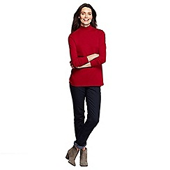 Lands' End - Red women's petite long sleeve relaxed mock neck