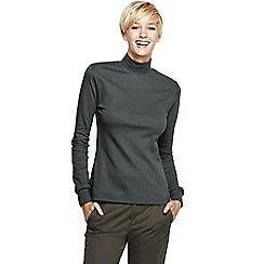 Lands' End - Grey women's long sleeve relaxed polo neck petite