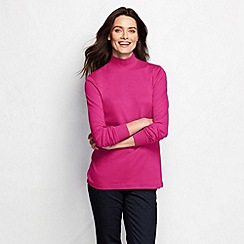 Lands' End - Red women's long sleeve relaxed polo neck petite