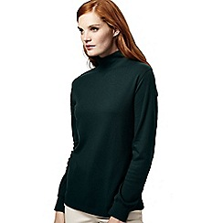 Lands' End - Green women's petite long sleeve relaxed mock neck top