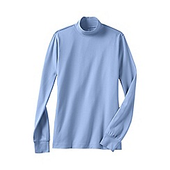 Lands' End - Blue women's petite long sleeve relaxed mock neck top