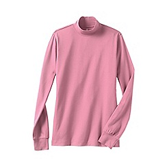 Lands' End - Pink women's petite long sleeve relaxed mock neck