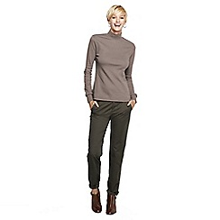 Lands' End - Beige women's petite long sleeve relaxed mock neck
