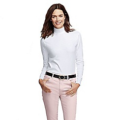 Lands' End - White women's long sleeve relaxed polo neck petite