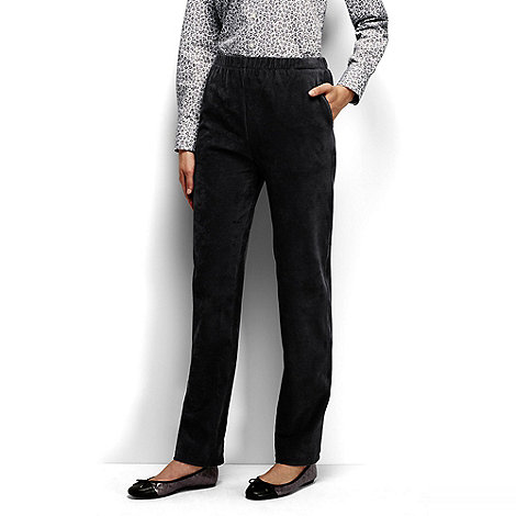 Lands+ End - Black petite stretch-knit cord trousers