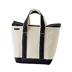 Lands' End - White small zip top canvas tote bag