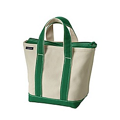 Lands' End - White medium zip top canvas tote shopper