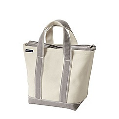 Lands' End - White large zip top canvas tote shopper