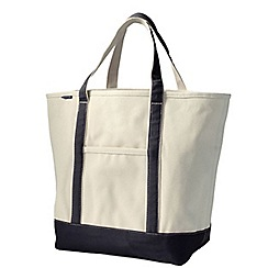 Lands' End - White large open top canvas tote bag