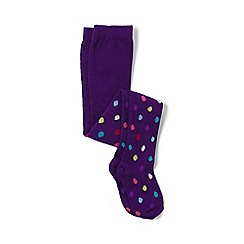 Lands' End - Girls' purple pattern tights