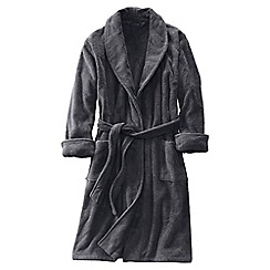 Lands' End - Grey men's regular 11-ounce turkish terry calf-length robe