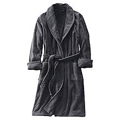 Lands' End - Grey men's regular 11-ounce turkish terry calf-length robe