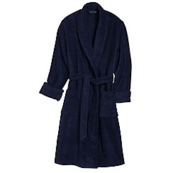 Lands' End - Blue men's regular 11-ounce turkish terry calf-length robe