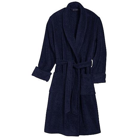 Lands+ End - Blue men+s regular 11-ounce turkish terry calf-length robe