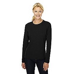 Lands' End - Black long sleeve ribbed crew neck t-shirt