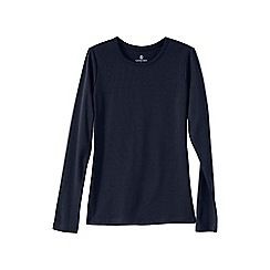 Lands' End - Blue women's regular ribbed cling-free crew neck t-shirt