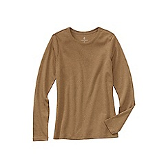Lands' End - Beige regular ribbed cling-free crew neck t-shirt