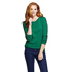 Lands' End - Green women's regular ribbed cling-free crew neck t-shirt