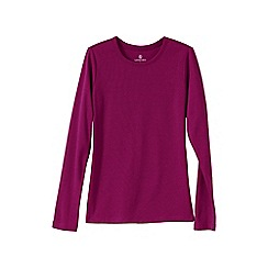 Lands' End - Pink women's regular ribbed cling-free crew neck t-shirt