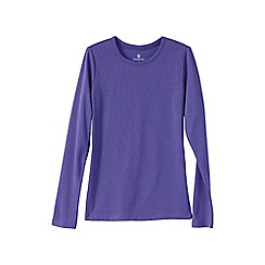 Lands' End - Purple women's regular ribbed cling-free crew neck t-shirt
