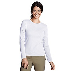 Lands' End - White petite ribbed crew neck t-shirt