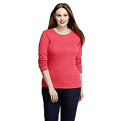 Lands' End - Red women's plus ribbed crew neck t-shirt