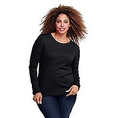 Lands' End - Black women's plus ribbed crew neck t-shirt