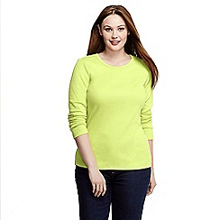 Lands' End - Yellow women's plus ribbed crew neck t-shirt