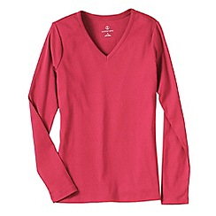 Lands' End - Pink women's regular long sleeve v-neck t-shirt