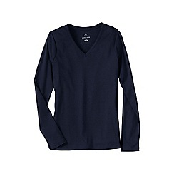 Lands' End - Blue women's regular long sleeve v-neck t-shirt
