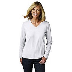 Lands' End - White women's regular long sleeve v-neck t-shirt