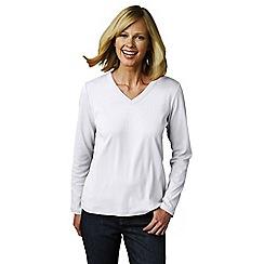 Lands' End - White women's regular long sleeve v-neck t-shirt