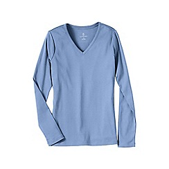 Lands' End - Blue women's petite long sleeve v-neck t-shirt